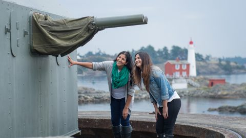 visitors in fort rodd hill & lighthouse